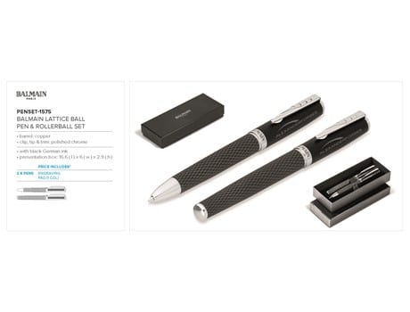 Balmain Lattice Ball Pen & Rollerball Set-image