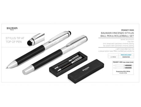 Balmain Vincenzo Stylus Ball Pen & Rollerball Set - Black Only-image
