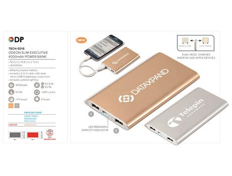 Odeon Slim Executive 4000mAh Power Bank-image