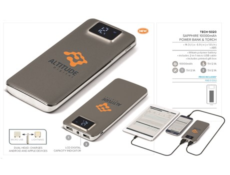 Sapphire 10000mAh Power Bank and Torch-image