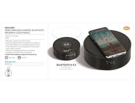 Prime Wireless Charger, Bluetooth Speaker and Clock Radio-image